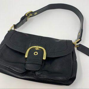 COACH Soho Black Hobo Leather Flap Shoulder 11842